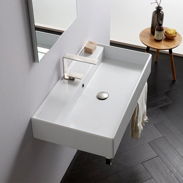 Teorema Ceramic 32 Wall Mount Bathroom Sink with Overflow by Scarabeo by Nameeks