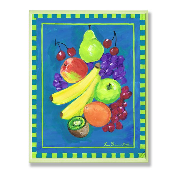 Assorted Fruit on Blue and Green Painting Print Wall Plaque by Stupell Industries