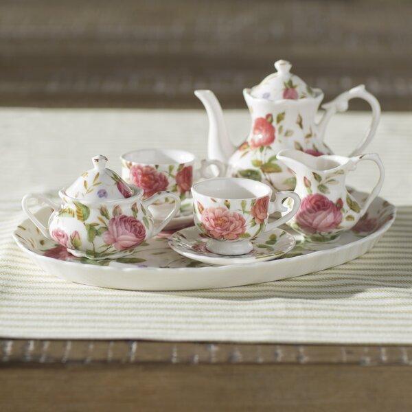 Nils 8 Piece Porcelain Mini Saddlebrooke Tea Set by Lark Manor