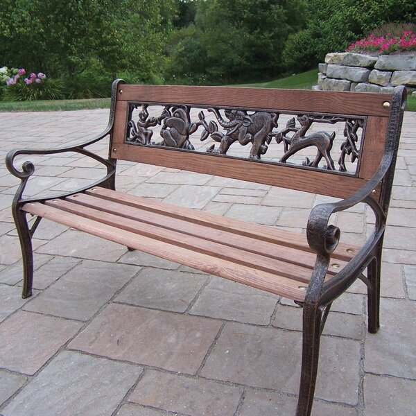 Animal Kiddy Wood and Cast Iron Park Bench by Oakland Living