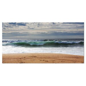 Large Blue Waves and Blue Sky Large Seashore Photographic Print on Wrapped Canvas by Design Art