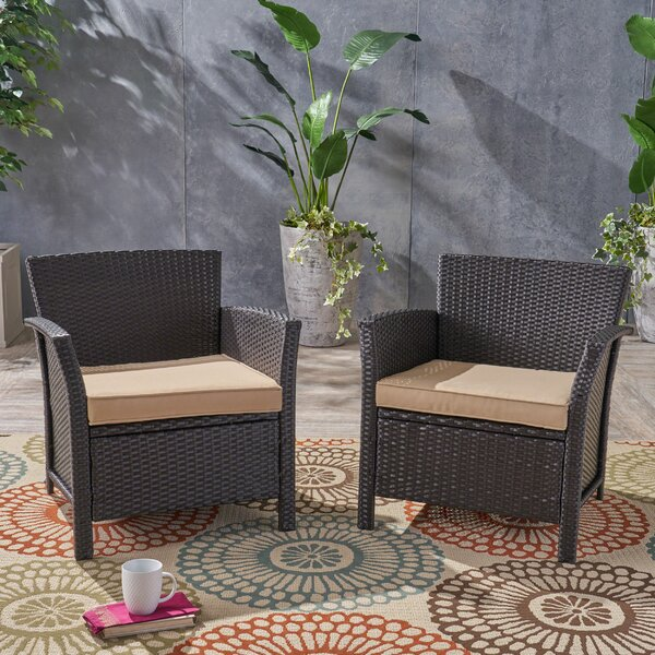 Mullenax Patio Chair with Cushion (Set of 2) by Ivy Bronx