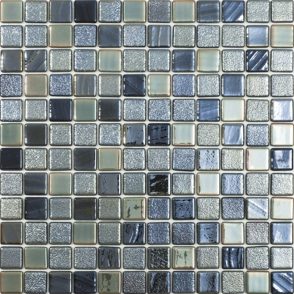 1 x 1 Glass Mosaic Tile in Black Forest Mix by Kellani