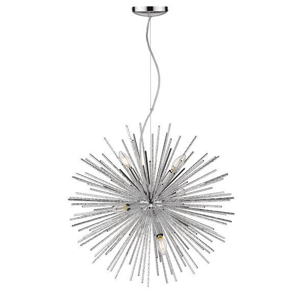 Magellan 6 - Light Sputnik Globe Chandelier With Wrought Iron Accent By Ove Decors