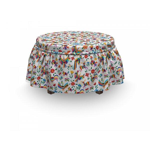 Free Shipping Mexican Natural Inspiration Art 2 Piece Box Cushion Ottoman Slipcover Set