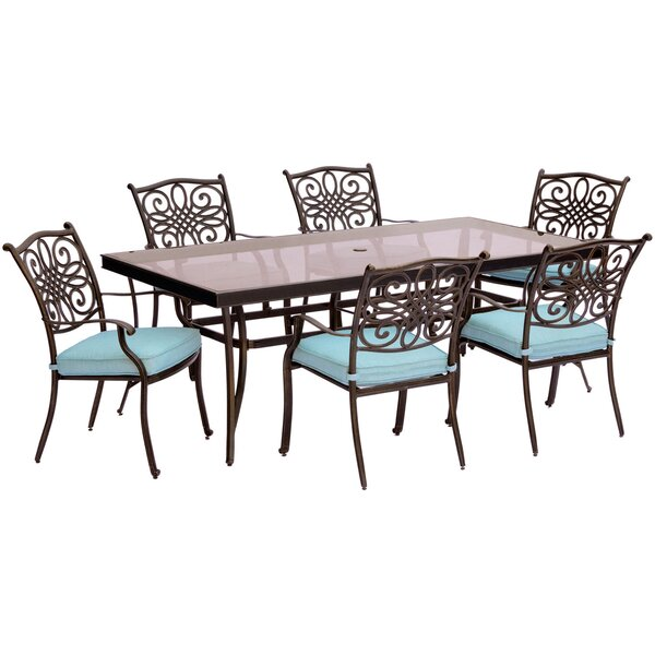 Lauritsen 7 Piece Aluminum Dining Set with Cushions by Three Posts