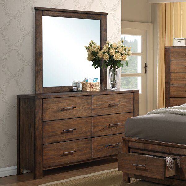 Schlesinger 6 Drawer Double Dresser with Mirror by Latitude Run
