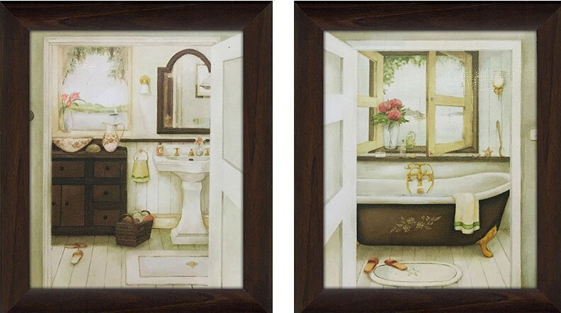 ëSink and Bathtubí 2-Piece Framed Painting Print on Canvas Set