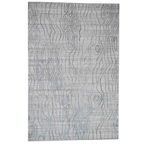 One-of-a-Kind Fredette The Tree Bark Oriental Hand-Knotted Silk Gray Area Rug by World Menagerie