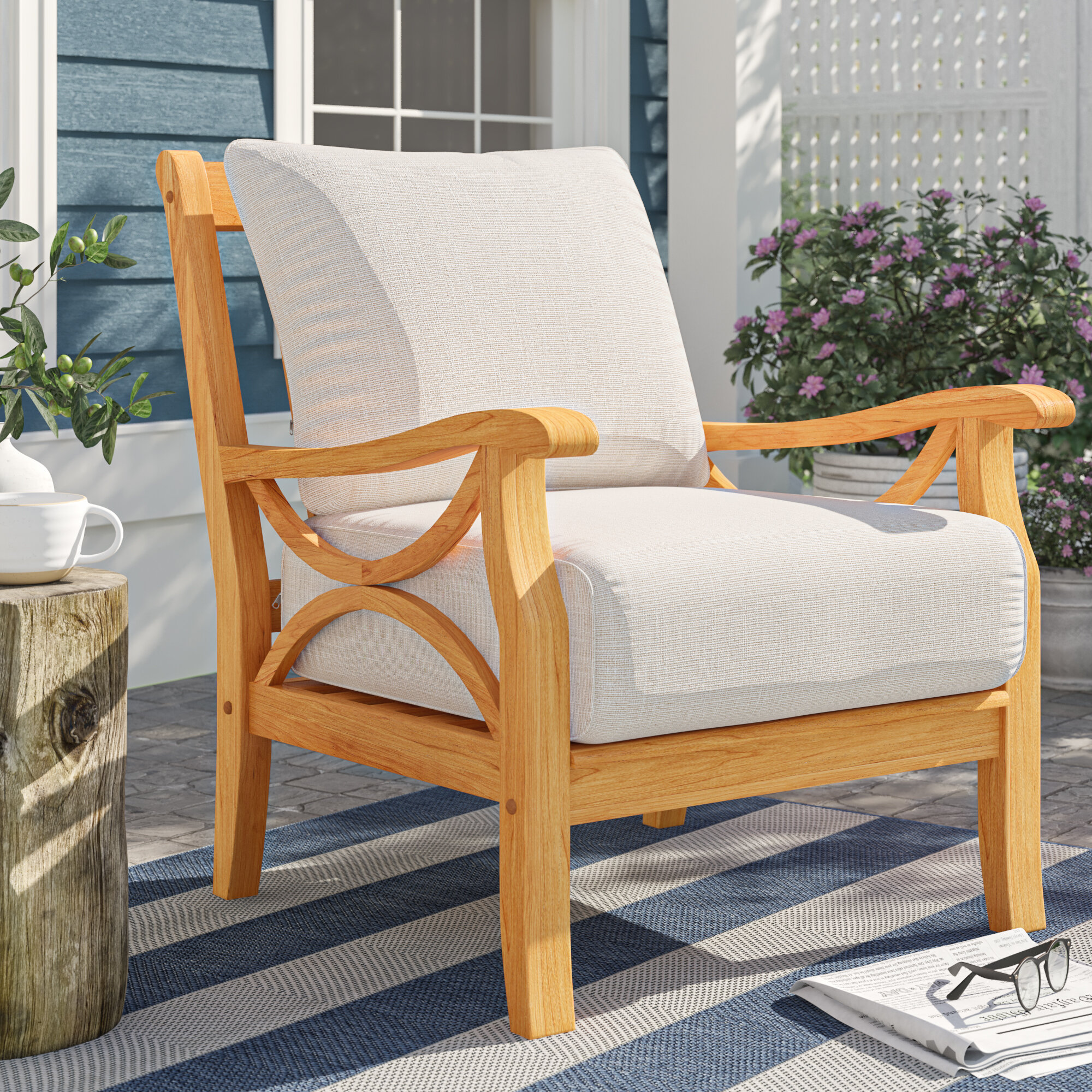 Brunswick Teak Patio Chair With Cushions Reviews Birch Lane