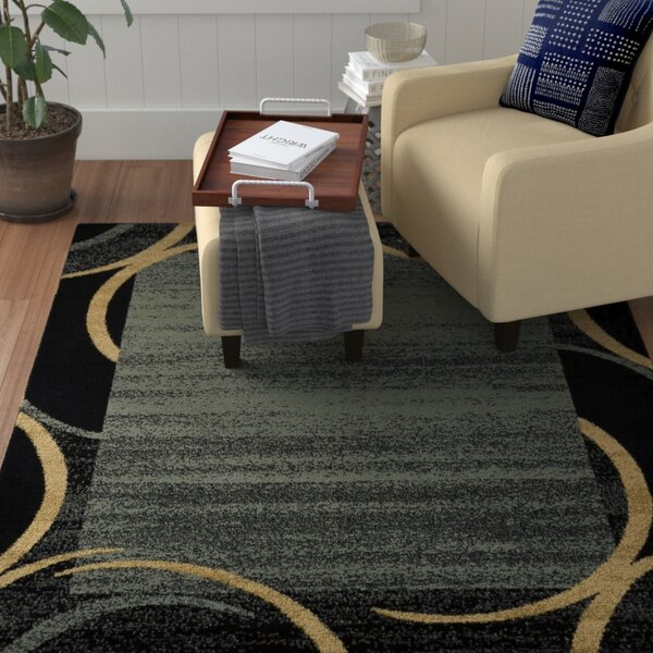 Hinson Contemporary Arches French Border Ocean Blue/Black Area Rug by Winston Porter