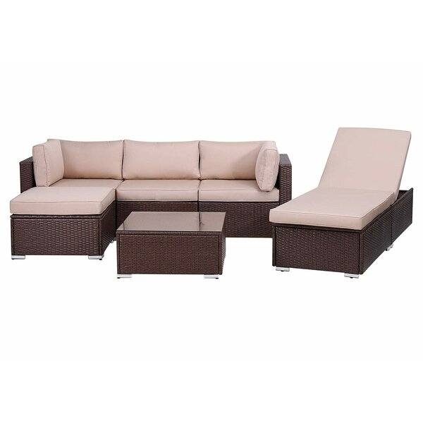 Simten Outdoor 6 Piece Rattan Sectional Seating Group with Cushions by Latitude Run