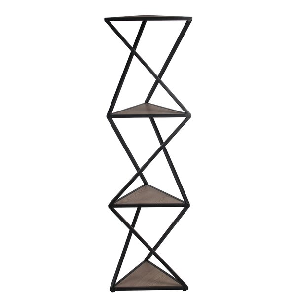 Hollingsworth Metal and Wood Shelf Geometric Bookcase by Williston Forge