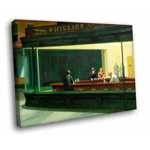'Nighthawks Phillies' by Edward Hopper Painting Print on Canvas by Alcott Hill
