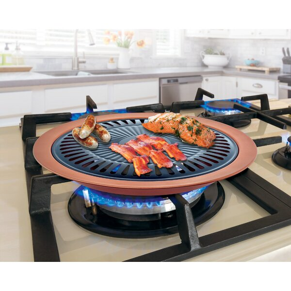 2 Piece Copper Stove Top Non Stick Grill Pan Set by Innova Imports