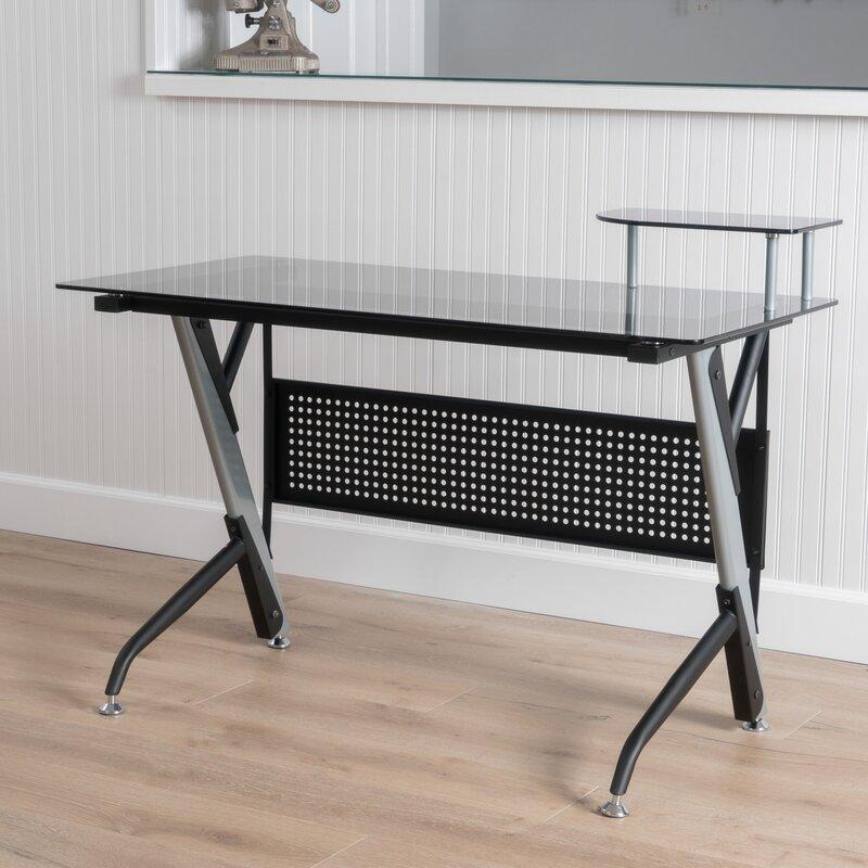 Bent glass desk wayfair tempered glass writing desk gumiabroncs Gallery