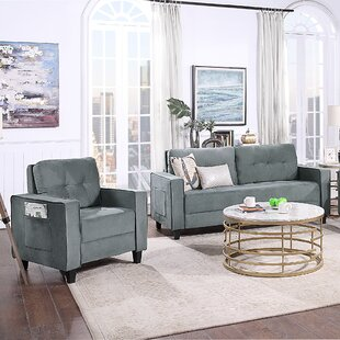 Living Room Sofa Set Morden Style Couch Furniture Upholstered Armchair And Loveseat For Home Or Office by Latitude Run®