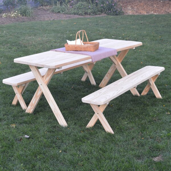 Starkey Pine Cross-leg Picnic Table with 2 Benches by Loon Peak