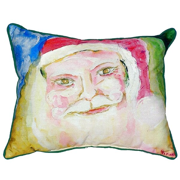 Santa Face Outdoor Lumbar Pillow by Betsy Drake Interiors