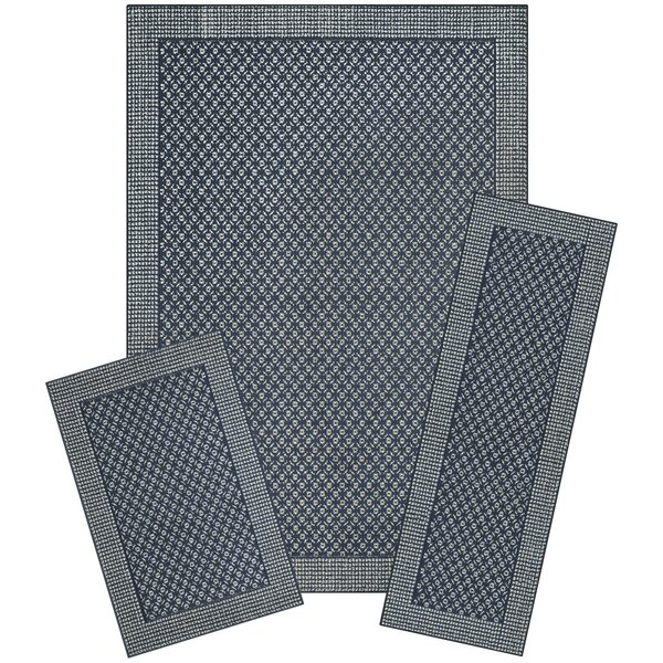 Ophir 3 Piece Navy Area Rug Set by World Menagerie