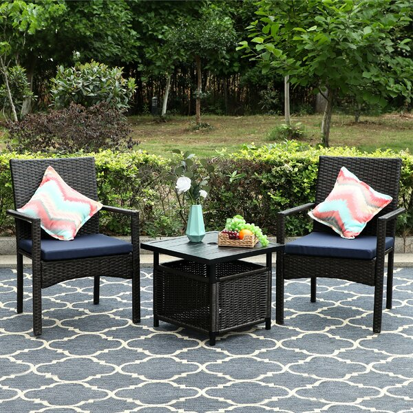 Angelgael Patio 3 Piece Bistro Set with Cushions