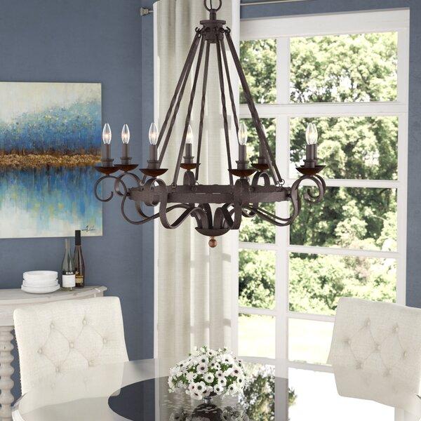 Allston 8 - Light Candle Style Wagon Wheel Chandelier with Wood Accents by Fleur De Lis Living Fleur De Lis Living