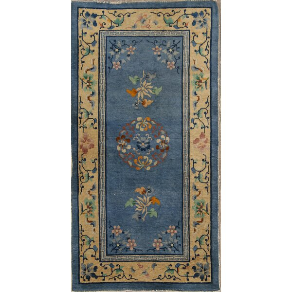 Golva Art Deco Oriental Hand-Knotted Wool Beige/Blue Area Rug by Bloomsbury Market