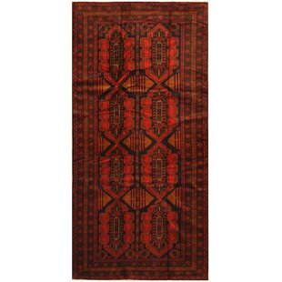 Bargain One-of-a-Kind Ebron Hand-Knotted 4'8 x 9'2 Wool Red/Black Area Rug ByBloomsbury Market