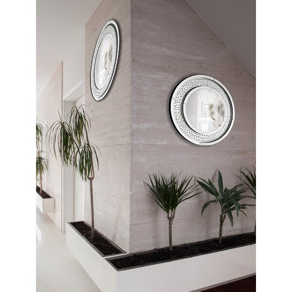 Circular Floating Crystal Beveled Panel Wood Framed Wall Mirror by Majestic Mirror