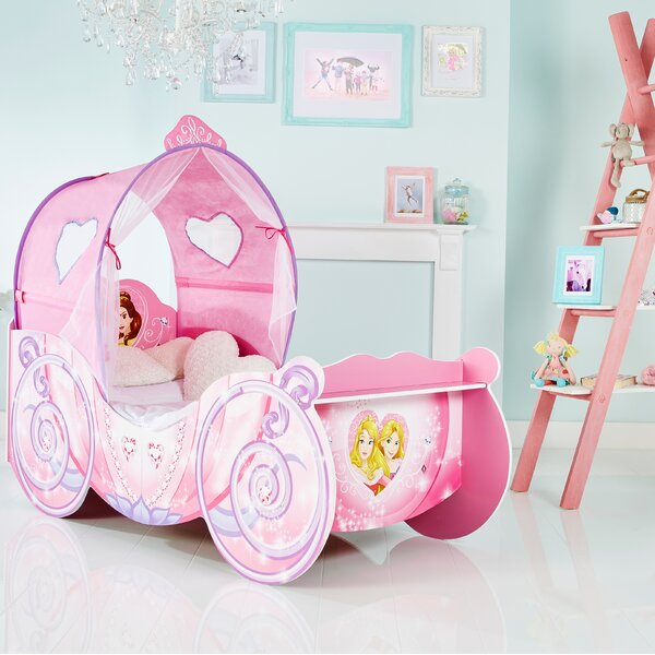 new arrival b93d6 0c593 Disney Princess Carriage Toddler Bed with light up canopy