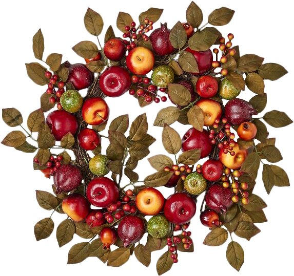 Mixed Apple Pomegranate and Leaf on Natural Twig Base 24 Wreath by The Holiday Aisle