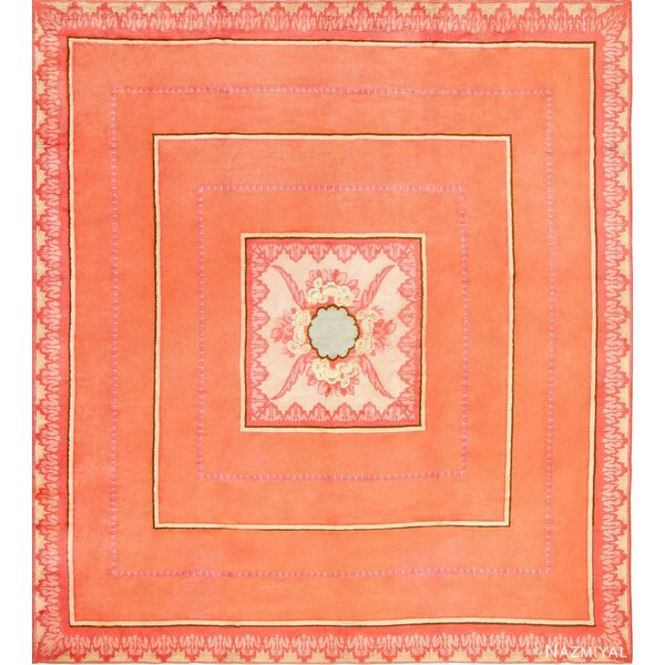 One-of-a-Kind Hand-Knotted 1920s Orange 14' x 15'7 Wool Area Rug