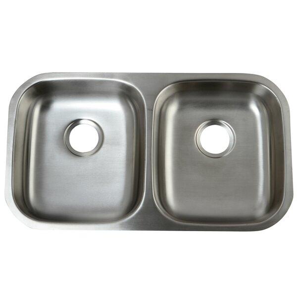 Loft 32.25 L x 18.5 W Undermount 18 Gauge ADA Compliant Double Bowl Kitchen Sink by Kingston Brass