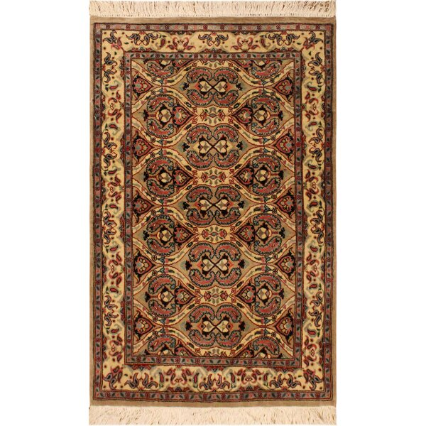 One-of-a-Kind Abequa Hand-Knotted Wool Light Brown/Ivory Area Rug by Isabelline
