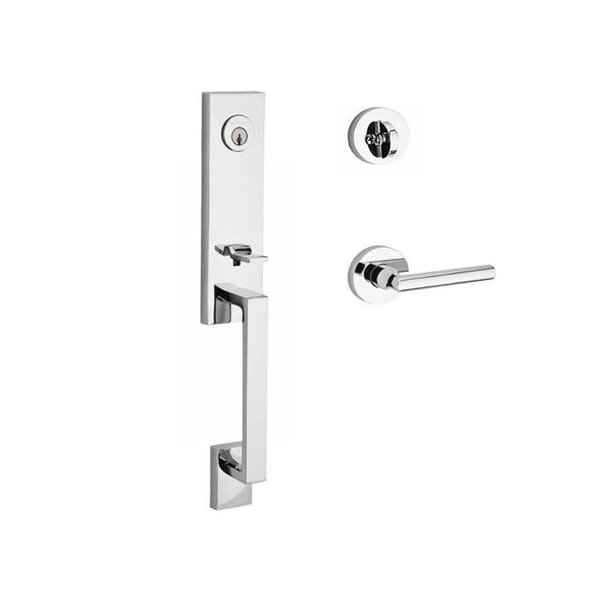 Seattle Single Cylinder Handleset with Tube Door Lever and Contemporary Round Rose by Baldwin