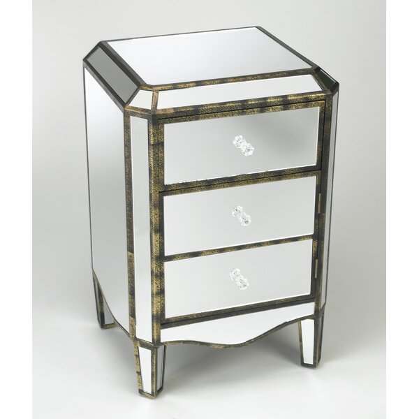 Alizeh 3 Drawer Mirored Cabinet Accent Chest by Rosdorf Park Rosdorf Park