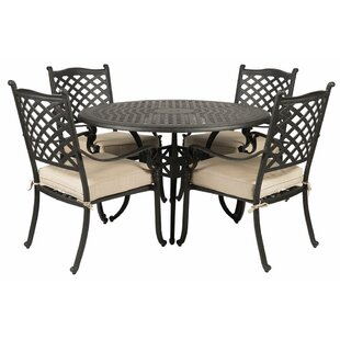 Colstrope 5 Piece Sunbrella Dining Set with Cushions By Fleur De Lis Living
