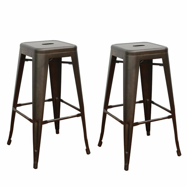 Tolix Style Industrial Chic Metal 30 Patio Bar Stool (Set of 2) by Homebeez