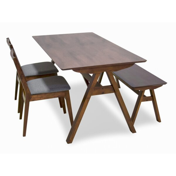 Abagail 4 Piece Solid Wood Dining Set by Union Rustic