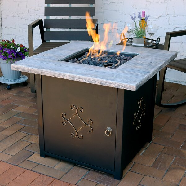 Aluminum/Stone Propane Fire Pit Table with Lava Ro