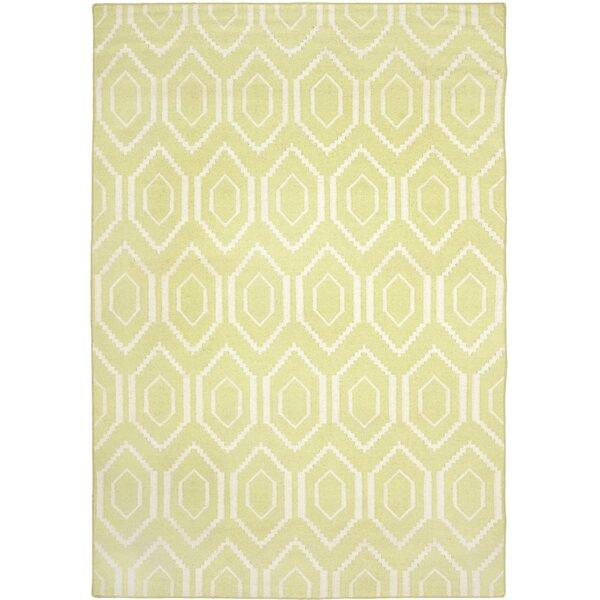 Hand-Woven Wool Green/Ivory Area Rug by Birch Lane Kids™