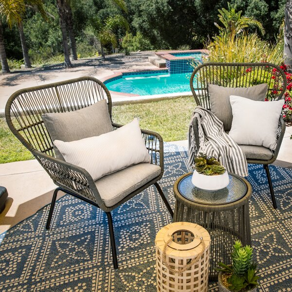 Schueler 3 Piece Rattan Seating Group with Cushions