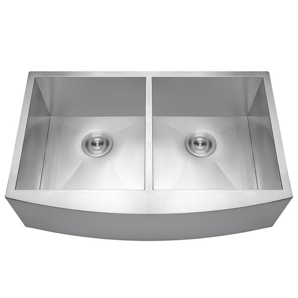 22 L x 33 W Double Basin Farmhouse Apron Sink with Dish Grid and Drain Strainer Kit by AKDY