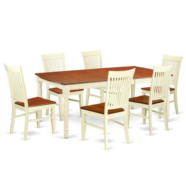 Pimentel 7 Piece Extendable Solid Wood Dining Set by August Grove