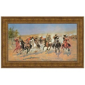 A Dash for the Timber, 1889 by Frederic S. Remington Framed Painting Print by Design Toscano
