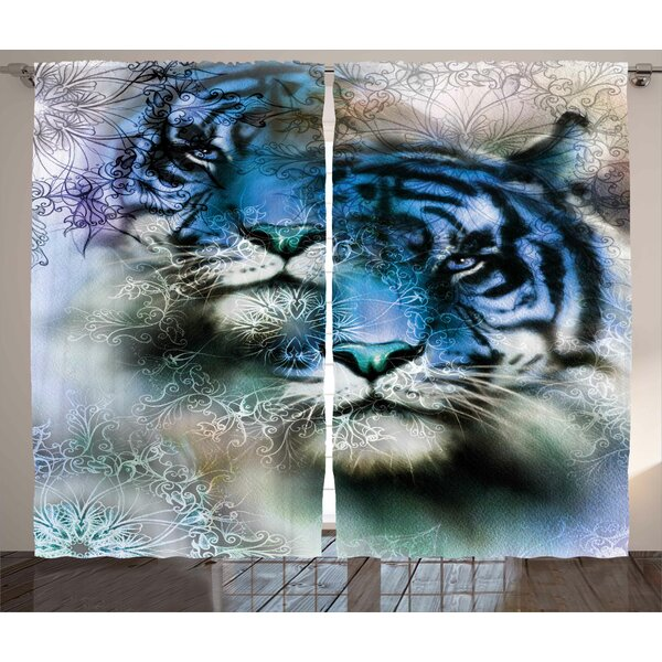 Darsh Animal  Graphic Print and Text Semi-Sheer Rod Pocket Curtain Panels (Set of 2) by World Menagerie