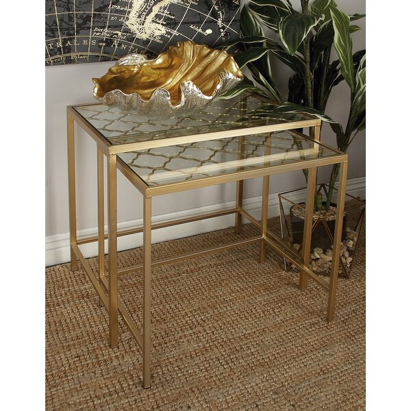 Metal/Glass 3 Piece Nesting Tables by Cole & Grey