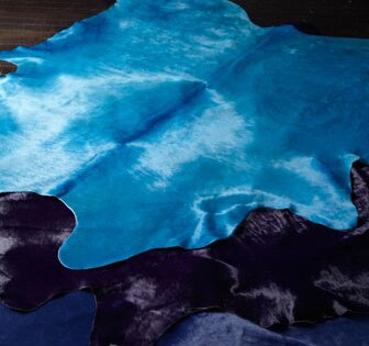 Dyed Brazilian Cowhide Turquoise Area Rug by Pergamino