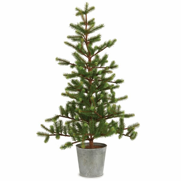 36 Green Fir Trees Artificial Christmas Tree in Tin Pot by Gracie Oaks