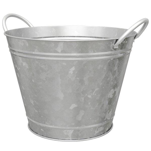 Leonie Round Wash Tub Metal Pot Planter by Gracie Oaks
